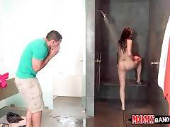 Kimberly catches her friend Tony spying after her step mom in shower.