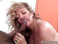 Karen Summer tastes her pussy juices from black  lover`s shaft.