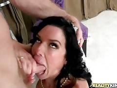Hot Mature Brunette Slurps Thick Cock 2
