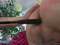 Pretty Babe Does Friend`s Ass With Whip Handle 1