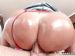 Sexy Latin milf Holiday Soup is jumping on lover`s dick with her asshole.