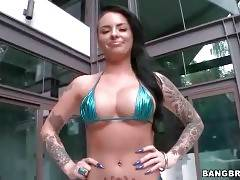 Tattooed brunette Christy Mack owns big tits and perfect round booty.
